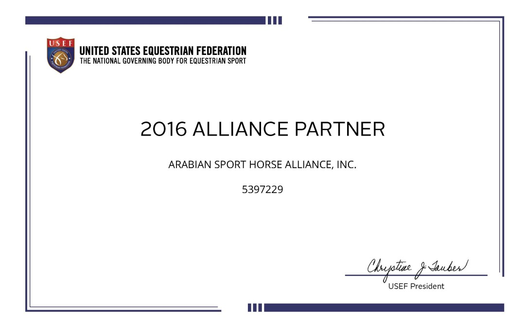 Expanding our outreach via status as a USEF Alliance Partner